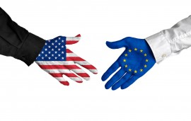 United States and European Union leaders shaking hands on a deal agreement