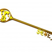 golden key with symbols and Bitcoin currency on a white background, 3d illustration