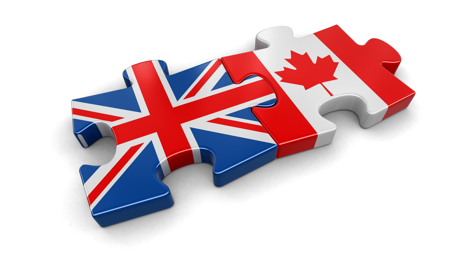 UK and Canadian puzzle from flags. Image with clipping path