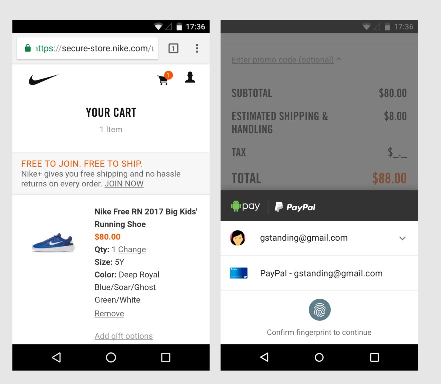 Shop and roam with Paypal in Google Chrome