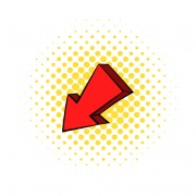Red left down arrow icon, comics style