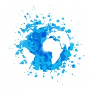 Blue paint splashes with map silhouette