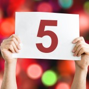 5 placard with bokeh background