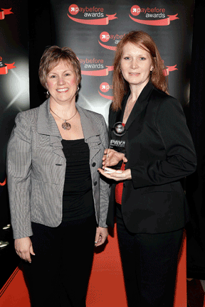 Top Motivator - Delta Air Lines Performance Pays Debit Card: Rachel Benning, MasterCard Worldwide, and Janelle Seibold, Xerox