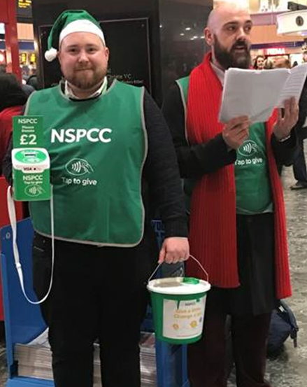 NSPCC staff with contactless donation boxes during the Barclaycard trial (Photo credit: NSPCC)