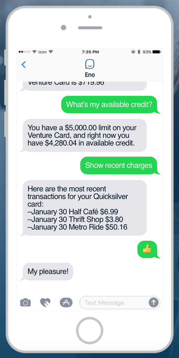 Capital One launches SMS chatbot, Eno – FinTech Futures